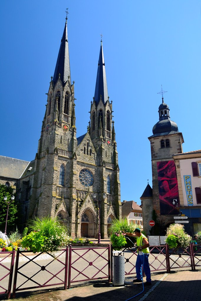 Stock Photo: 1566-1172385 Neo-gothic church St Martin, Sarralbe, Moselle, Lorraine, France