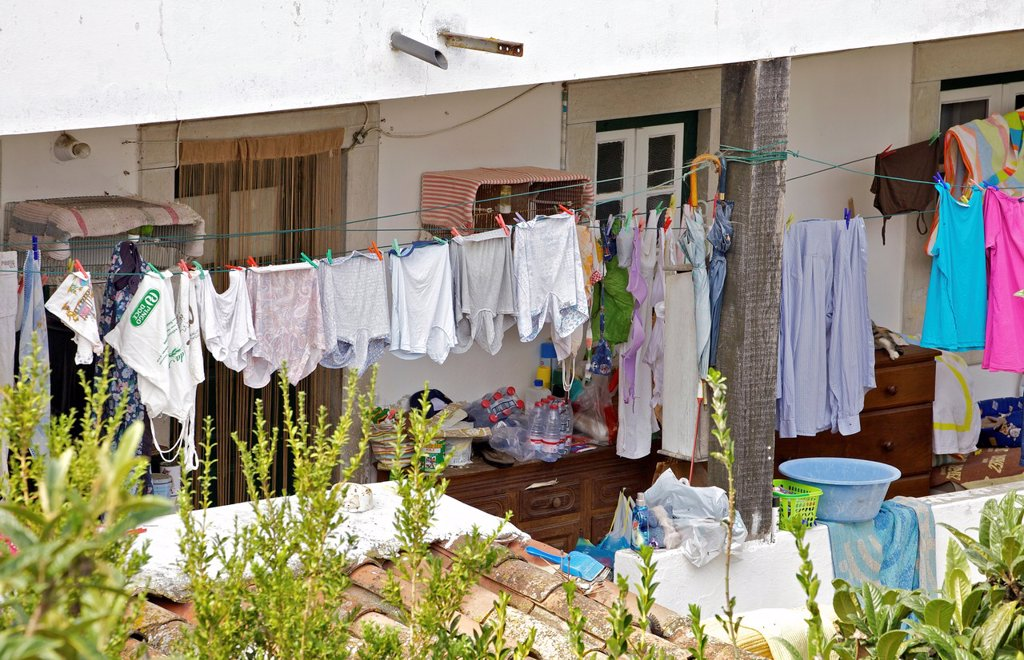 Stock Photo: 1566-1172993 Drying Clothes on a Clothes Line in the City