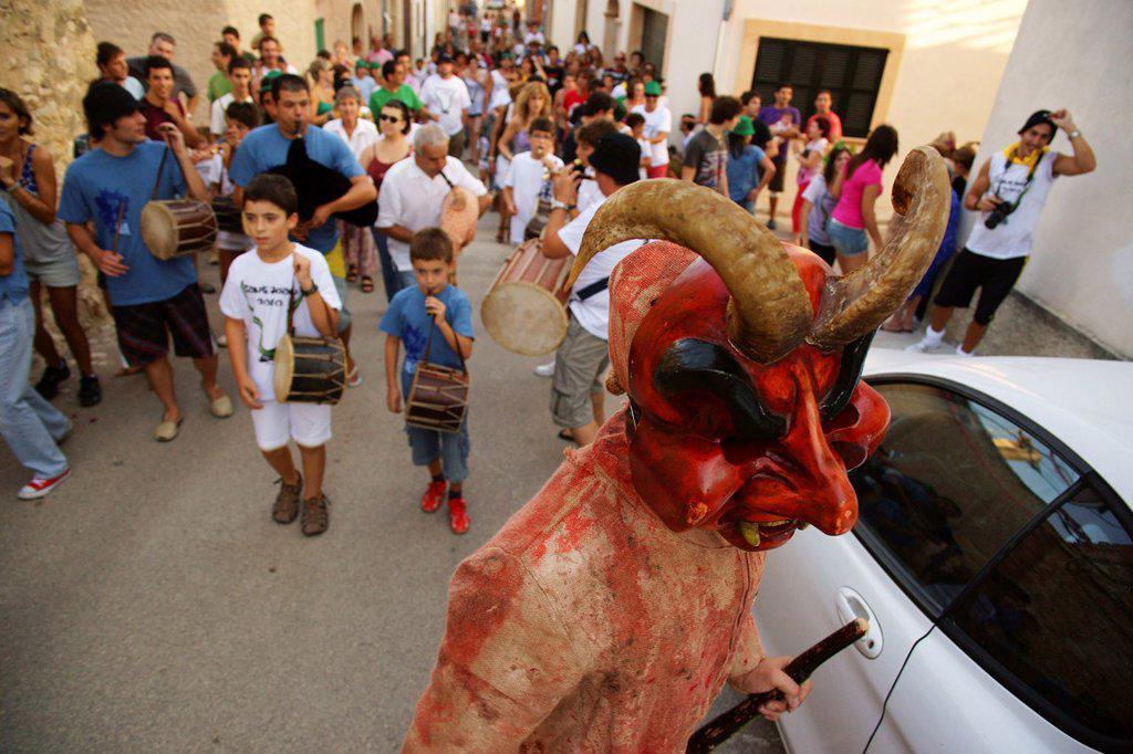 Dimonis - devils-, during the festival of Sant Joan degollat, Sant Joan, ??Mallorca Balearic Islands Spain : Stock Photo
