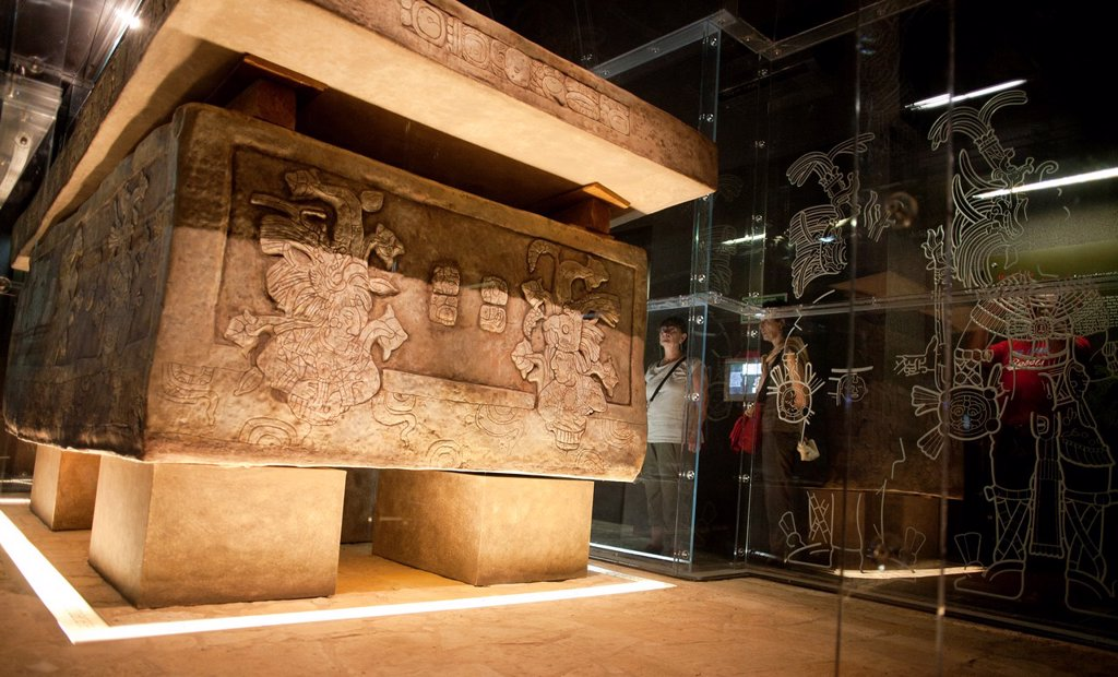 Stock Photo: 1566-1174156 Pakal tomb in the museum of Palenque, Chiapas, Mexico