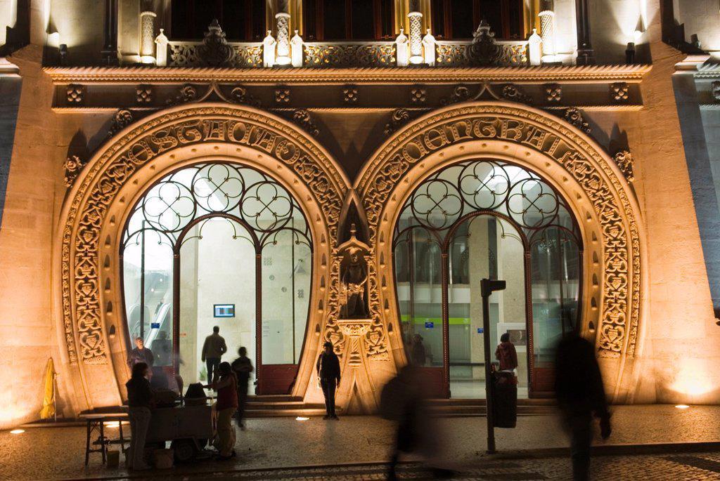 Neo-Manueline façade of Rossio Railway Station, Lisbon, portugal, europe : Stock Photo