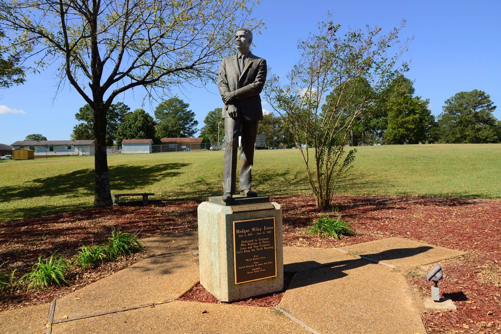 Medgar Evers Statue Jackson Mississippi MS US : Stock Photo