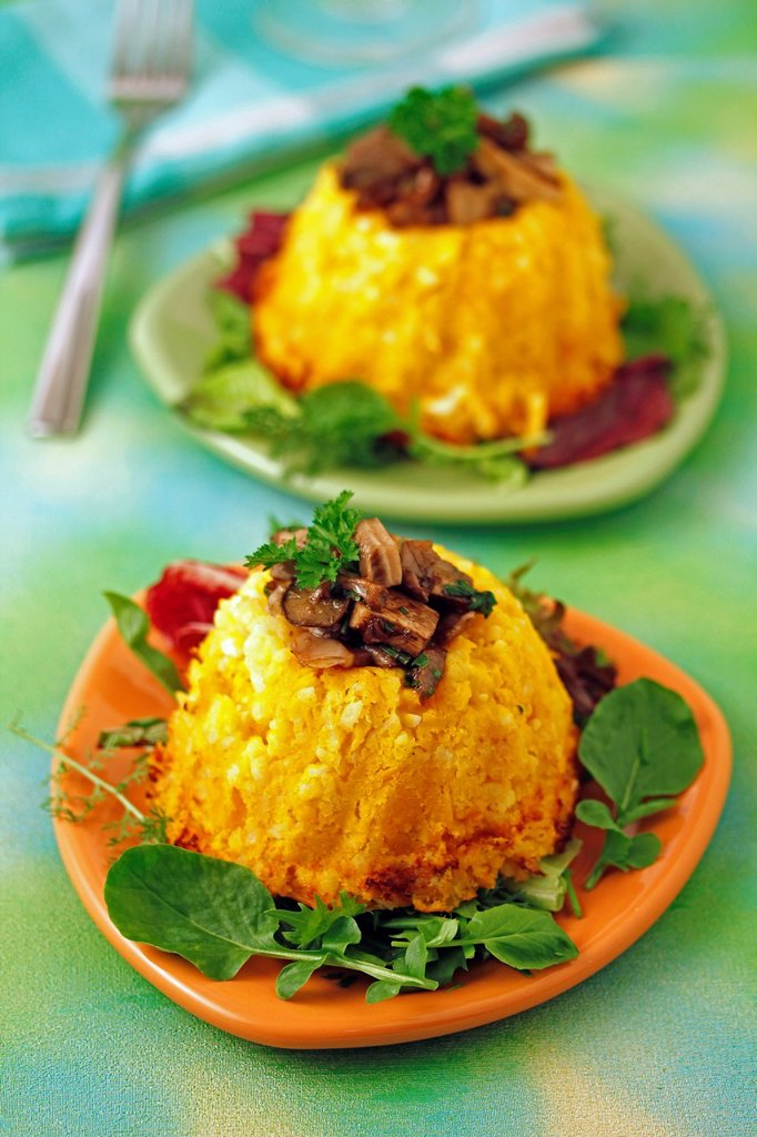 Stock Photo: 1566-1175921 Rice and pumpkin with mushrooms