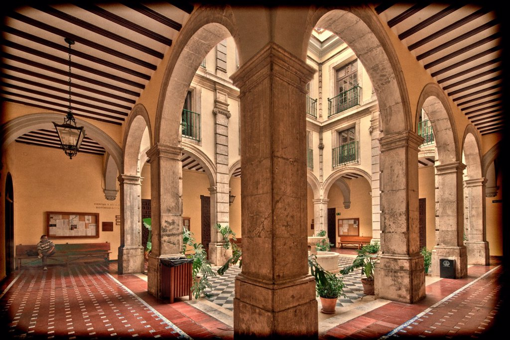 Courtyard, University of Seville former Royal Tobacco Factory, Seville, Spain : Stock Photo