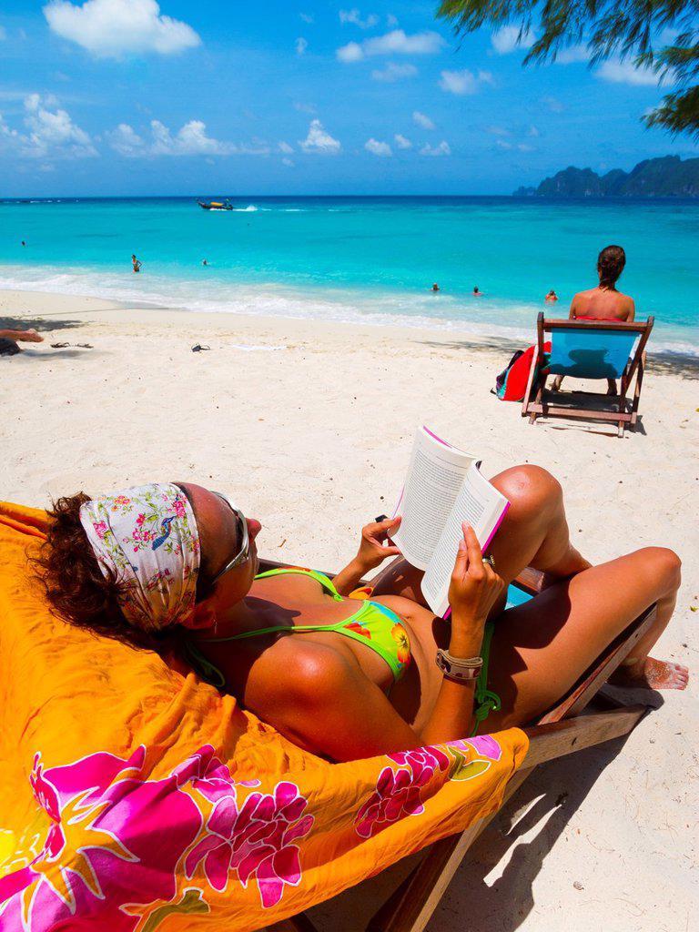 Tourist woman on Long beach  Phi Phi Don island  Krabi province, Andaman Sea, Thailand : Stock Photo