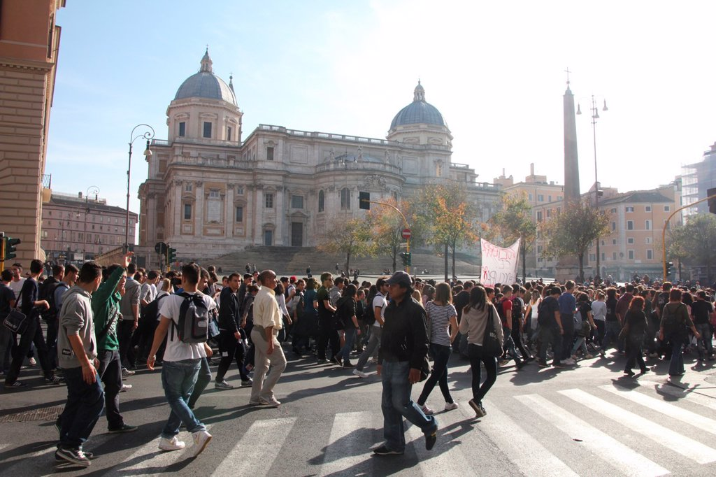 14 Nov 2012 Anti Austerity Protest in Rome Italy : Stock Photo