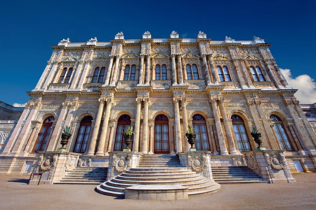 Stock Photo: 1566-1176361 The Ottoman style eceletic mix of Baroque & neo-Classical style Architecture of the gate of the Dolmabahçe Dolmabahce Palace, built by Sultan, Abdülmecid I between 1843 and 1856  Istanbul Turkey