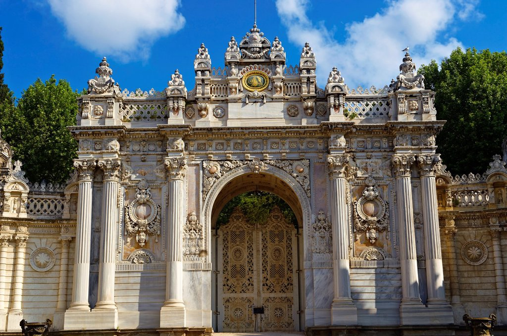 Stock Photo: 1566-1176362 The Ottoman Stle Architecture of the gate of the Dolmabahçe Dolmabahce Palace, built by Sultan, Abdülmecid I between 1843 and 1856  Istanbul Turkey