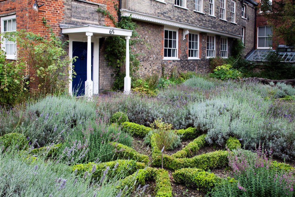Stock Photo: 1566-1176851 Emmaus House and Cathedral Herb Garden Norwich Norfolk England