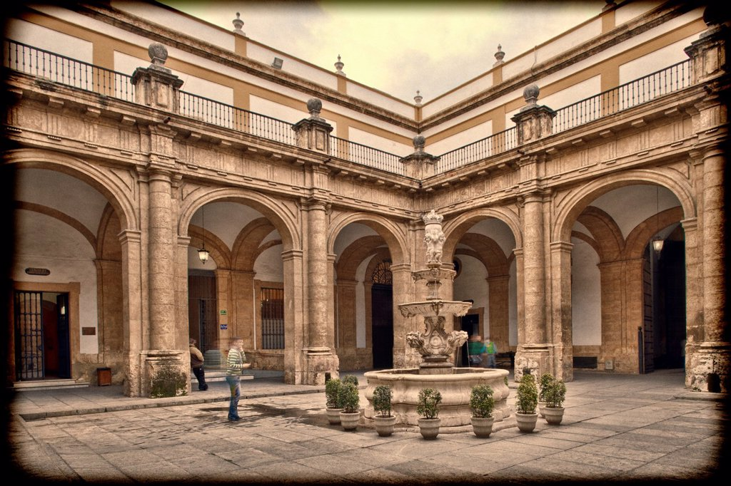 Stock Photo: 1566-1176941 Courtyard, University of Seville former Royal Tobacco Factory, Seville, Spain