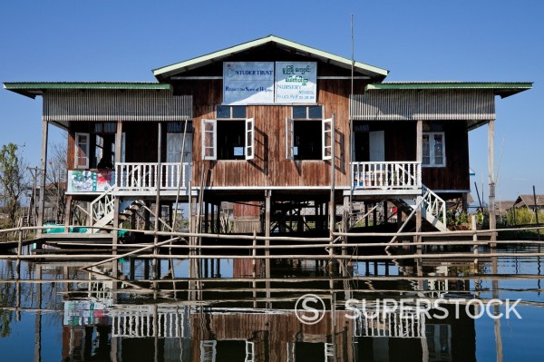 Stock Photo: 1566-1177156 Myanmar, Burma  Nursery School Building on Stilts  Inle Lake, Shan State