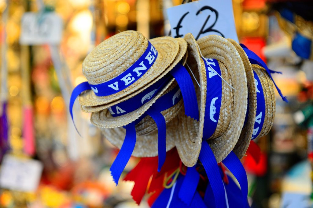 Stock Photo: 1566-1177247 A pile of straw hats,as worn by Venetian Gondoliers,for sale on a stall in Venice,Italy,Europe