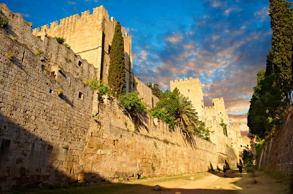 Stock Photo: 1566-1177374 Fortifications of the 14th century medieval palace of the Grand Master of the Kinights of St John, Rhodes, Greece  UNESCO World Heritage Site