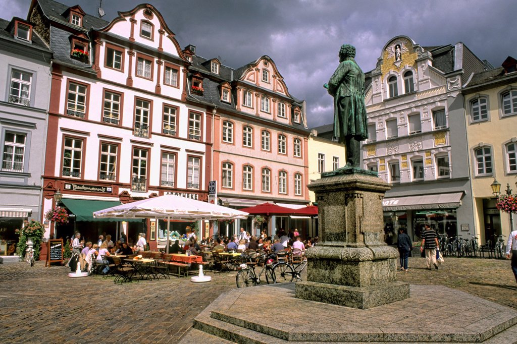 Germany Koblenz Old Town Center with buildings cafes and statue of Johannes Muller : Stock Photo