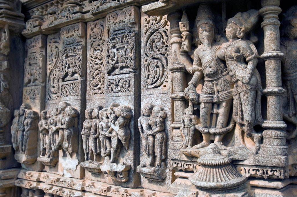 Saas Bahu Temple erotic sculptures and bas relief carvings Nagda Rajasthan India : Stock Photo