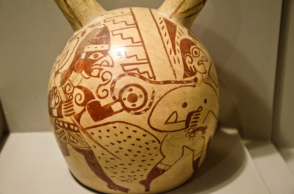Stock Photo: 1566-1178305 Ceramic vessel, depicting prisoners of war  Moche culture 100 AC-800 AC  Perú