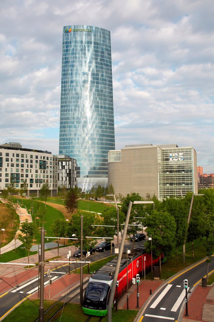 Stock Photo: 1566-1178351 Abandoibarra Avenue, Iberdrola tower, Bilbo-Bilbao, Biscay, Basque Country, Spain.