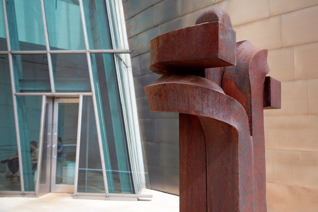 Stock Photo: 1566-1178374 Eduardo Chillida sculpture, Guggenheim Museum, Bilbo-Bilbao, Biscay, Basque Country, Spain.