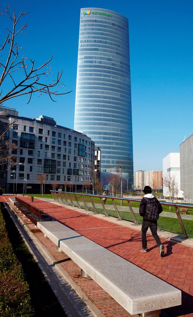 Stock Photo: 1566-1178397 Iberdrola Tower, Abandoibarra, Bilbao, Bizkaia, Basque Country, Spain.