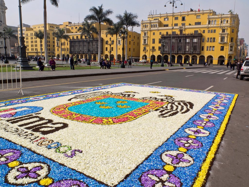 Stock Photo: 1566-1179413 Peru  Lima city  Traditional architecture  Flower Carpet in the Plaza de Armas