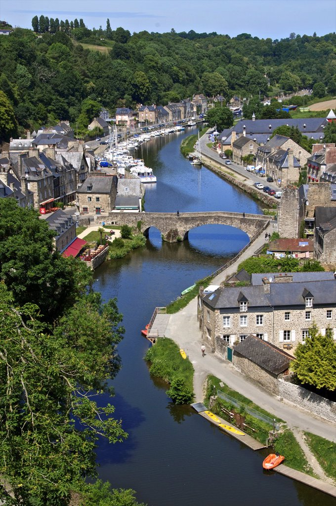 Stock Photo: 1566-1179530 Rance river valley and Dinan harbour with The Stone Bridge over river Rance,Dinan, Cotes d´Armor 22, Brittany, France