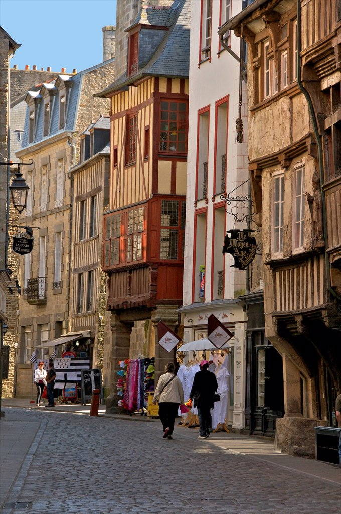 Medieval half timbered houses in streets of old town, Dinan, Cotes d´Armor 22, Brittany, France : Stock Photo