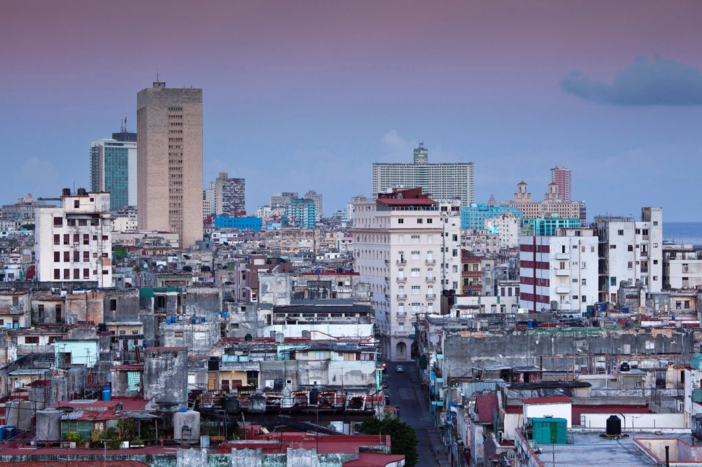 Stock Photo: 1566-1179551 Cuba, Havana, Central Havana, elevated view, dawn