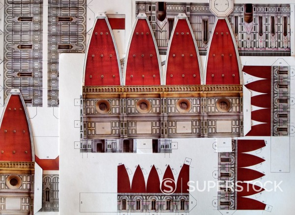 Stock Photo: 1566-1180029 Cut-out Souvenir, 3d paper puzzle of the Florence Cathedral