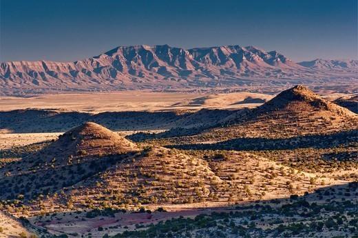 Caballo Mountains, distant view from Geronimo Trail in Sierra Cuchillo near Winston, New Mexico, USA : Stock Photo