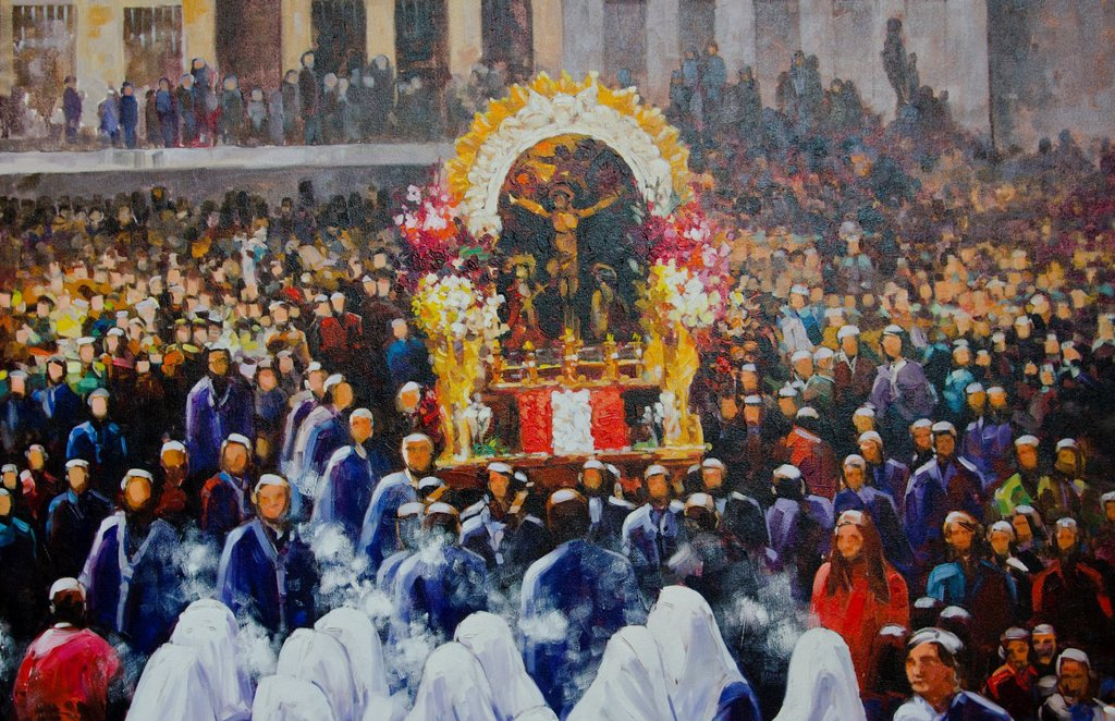 Stock Photo: 1566-1180372 Religious painting on street art show in Lima Peru
