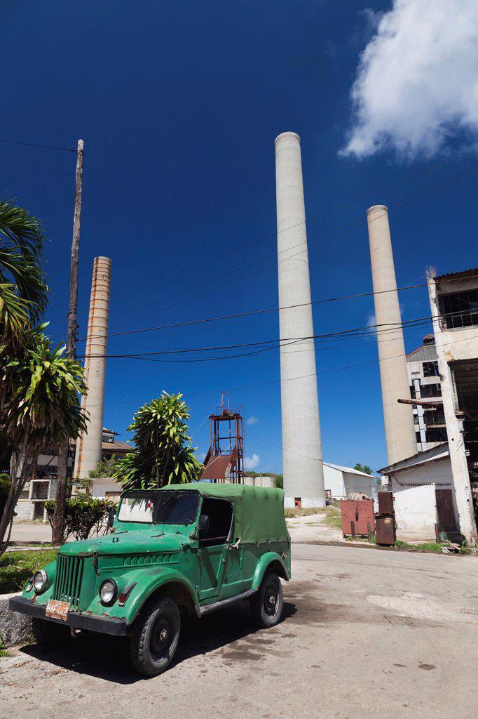 Cuba, Havana Province, Camilo Cienfuegos, ruins of the former US-built Hershey sugar factory : Stock Photo