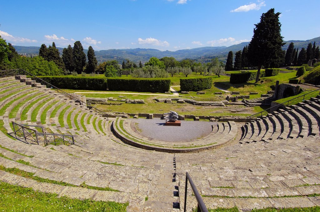 Fiesole, Roman Theatre, Florence province, Tuscany, Italy, Europe : Stock Photo