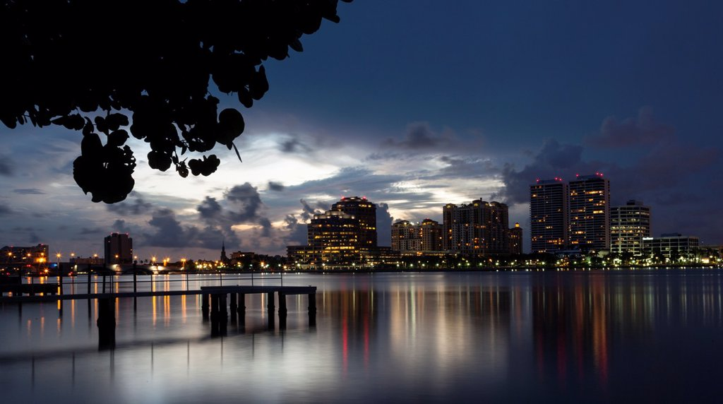 Stock Photo: 1566-1181028 Evening View Of Downtown West Palm Beach