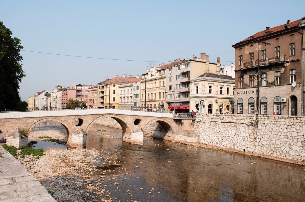 Stock Photo: 1566-1181205 Latin Bridge - Ottoman bridge over the River Miljacka, Sarajevo, Bosnia and Herzegovina