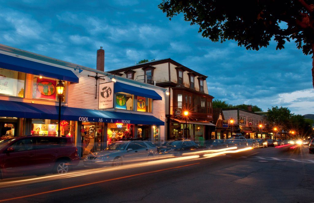 Stock Photo: 1566-1181306 Main Street scenes with great sky in Bar Harbor Maine at night exposure holiday vacation