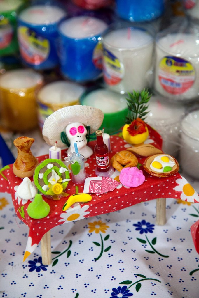 Stock Photo: 1566-1181694 Ofrendas, sugared sweet altar offerings to clebrate Day of the Dead, at Jamaica Market in Colonia Jamaica in Venustiano Carranza borough of Mexico City