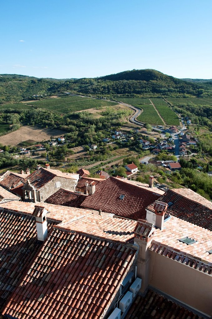 Stock Photo: 1566-1181736 Rooftops of Motovun and Mirna River valley, Central Istria, Croatia
