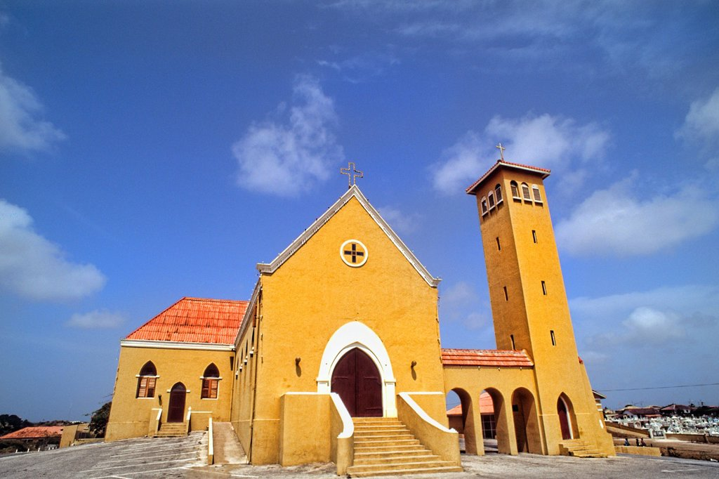 Colorful Church of the Margaret Church after Princess Margaret in downtown Curacao Caribbean : Stock Photo