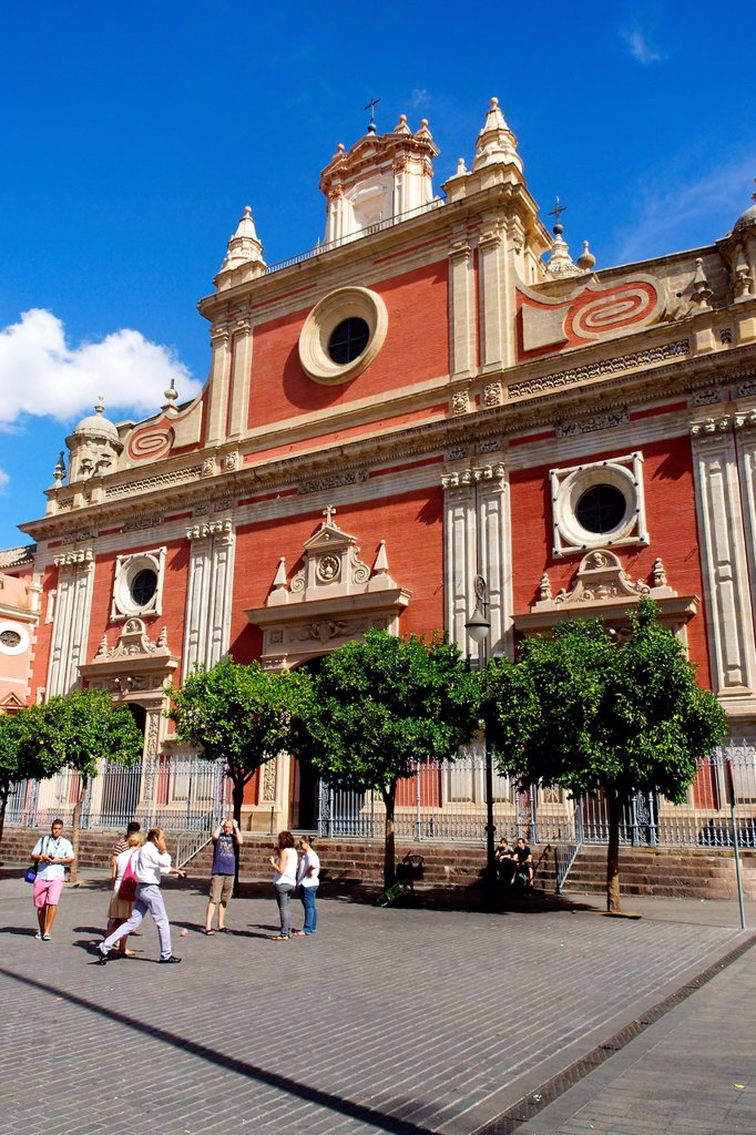 Sevilla Spain  Facade of the Church of the Saviour in the old city of Seville : Stock Photo