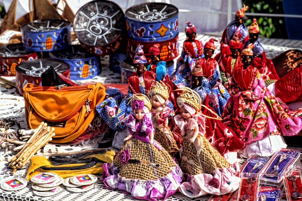 Stock Photo: 1566-1183366 Island Artwork dolls in the Caribbean here in St Johns Antigua