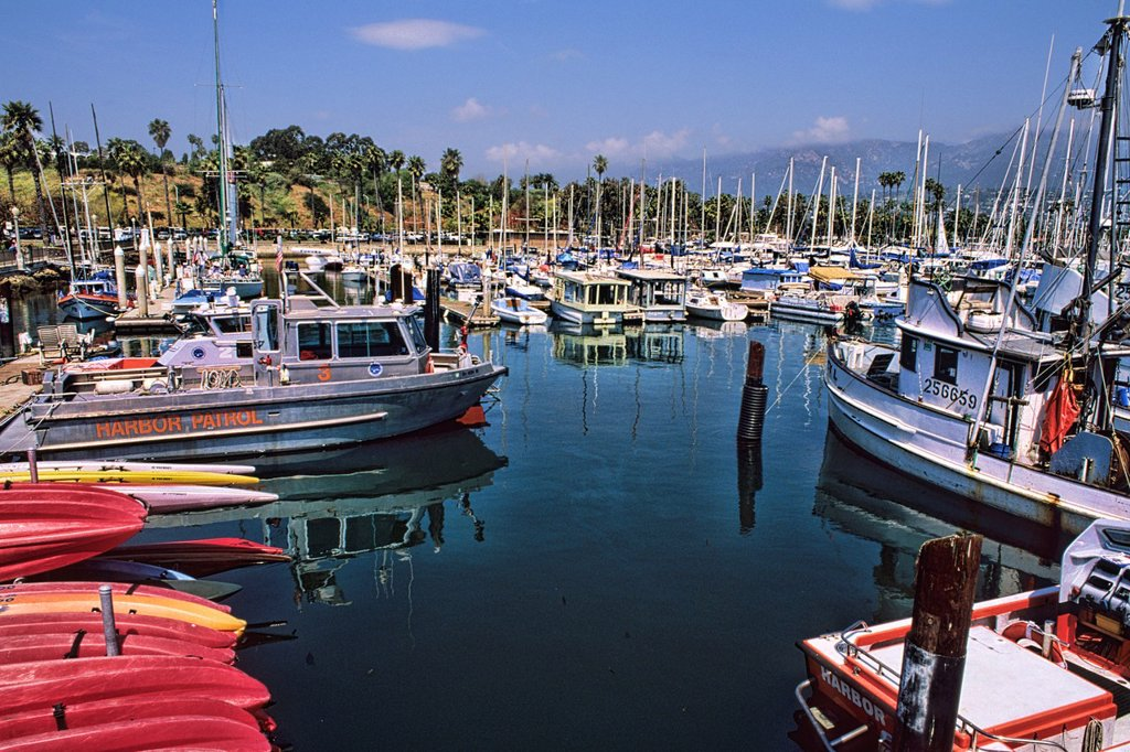 Yacht Club with boats in Santa Barbara California USA : Stock Photo