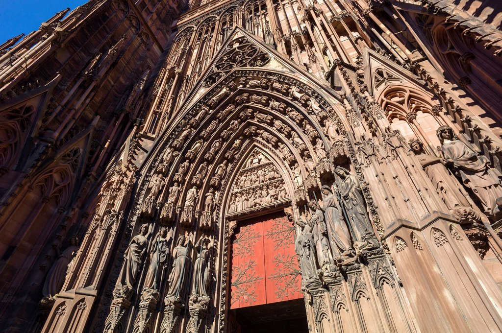 Left portal Tympanum ´Notre-Dame´ cathedral Strasbourg Alsace France : Stock Photo