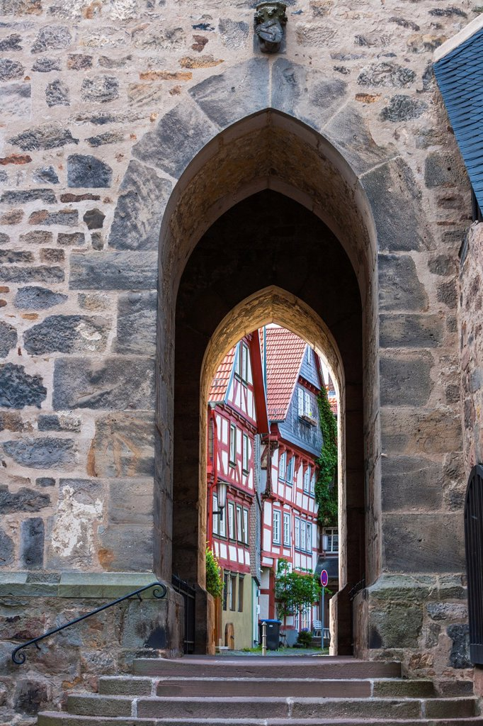 Stock Photo: 1566-1184309 Small passage in Alsfeld on the German Fairy Tale Route, Hesse, Germany, Europe