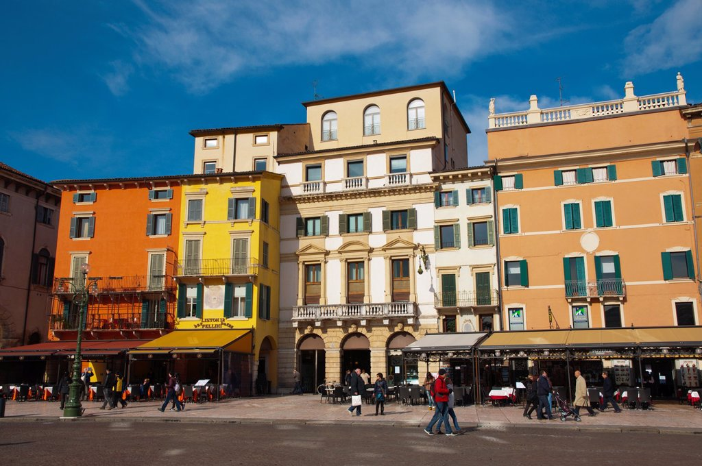 Piazza Bra square central Verona city the Veneto region northern Italy Europe : Stock Photo