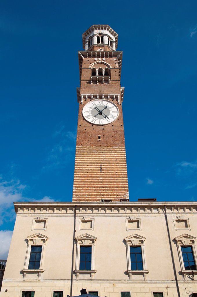 Stock Photo: 1566-1184412 Torre dei Lamberti 1463 Piazza delle Erbe square old town Verona city the Veneto region northern Italy Europe
