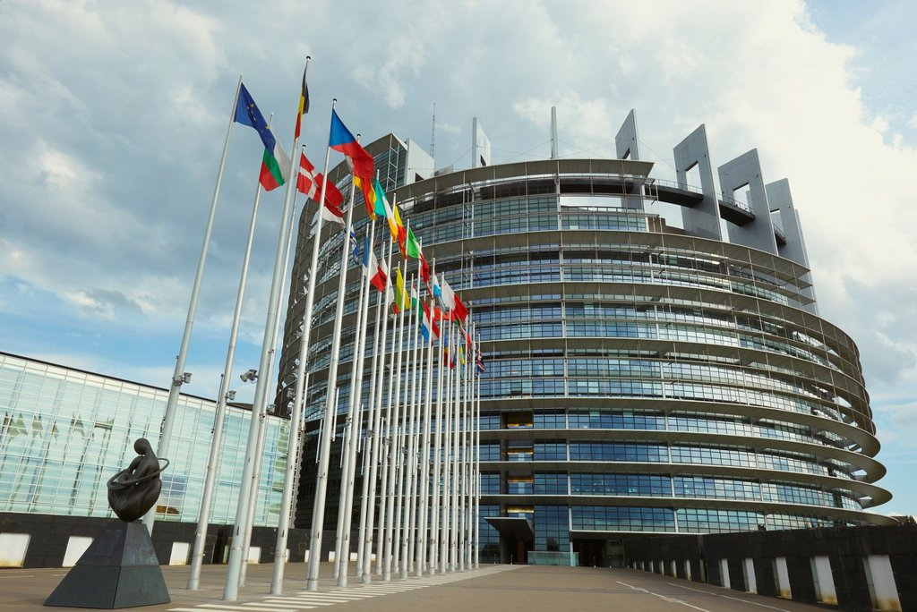 European Parliament seat, Louise Weiss building, Strasbourg, Alsace, France : Stock Photo
