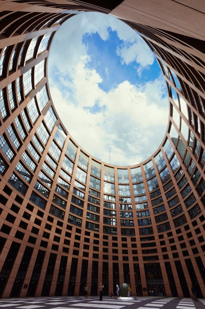 European Parliament seat, Louise Weiss building, Inner courtyard  Strasbourg, Alsace, France : Stock Photo
