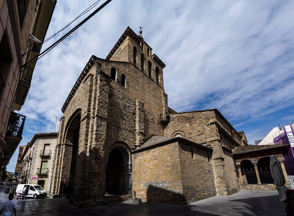 Stock Photo: 1566-1184668 Romanesque Cathedral of St Peter in Jaca, Aragón, Spain