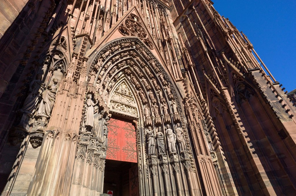 Stock Photo: 1566-1184957 Right portal Tympanum ´Notre-Dame´ cathedral Strasbourg Alsace France