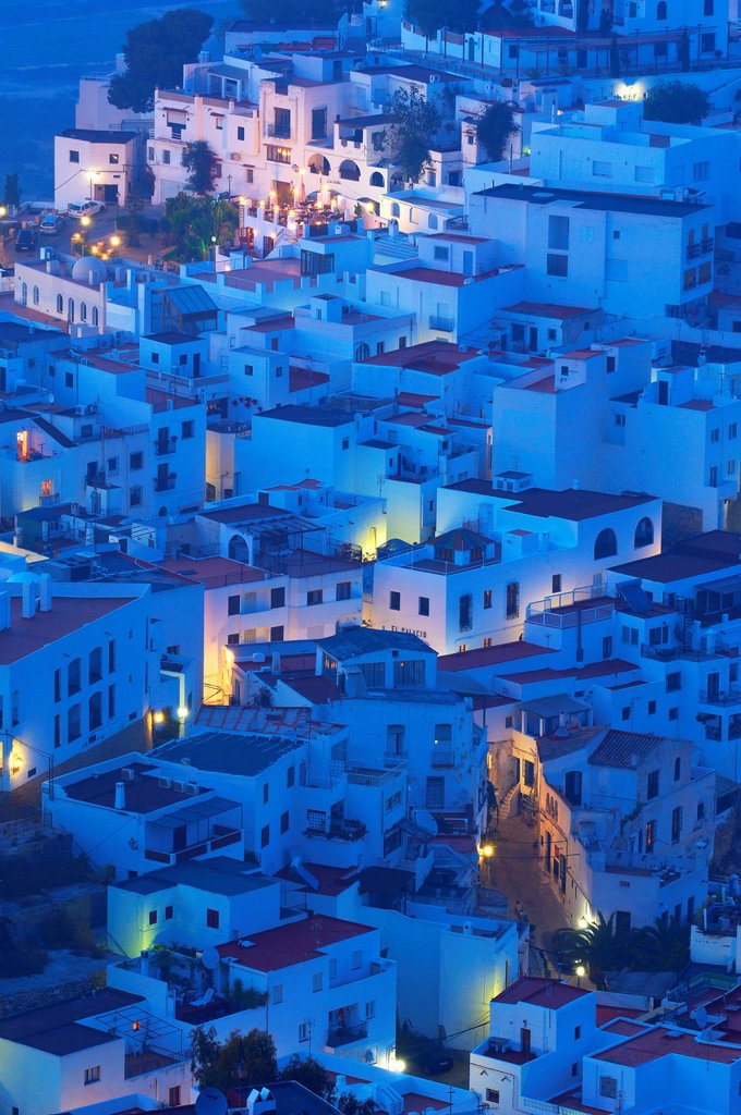 Mojacar, Old town at Dusk, Almeria province, Andalusia, Spain : Stock Photo